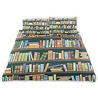 ALAZA 図書館の本棚 掛け布団カバー3点セット 枕カバー2枚付き 寝具セット 装飾用 子供用