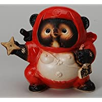 くノ一狸(赤) 信楽焼 陶器 置物 たぬき タヌキ