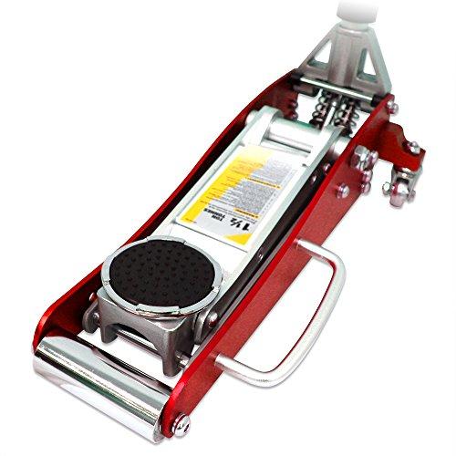 ガレージジャッキ 低床 フロアジャッキ 1.5t ジャッキ 油圧 アルミ+スチール製 ローダンウンジャッキ 油圧ジャッキ 低床ジャッキ デュアルポンプ式 軽量 ローダウン車対応 ジャッキアップ タイヤ交換 オイル交換