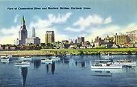 ハートフォード、コネチカット–Connecticut川View of the Hartfortスカイライン、ウォーターフロント 9 x 12 Art Print LANT-19128-9x12