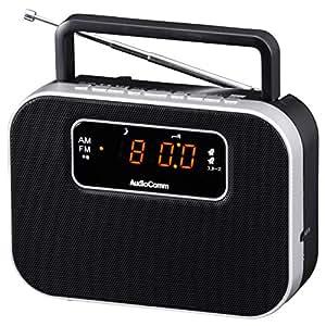 OHM デジタルクロックラジオ ブラック [RAD-F3357M-K]