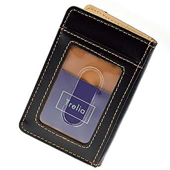 (トレリア) Trelia 定期入れ パスケース メンズ カードケース ICカード 身分証 免許証 ツートンカラー 7枚収納 スリム 薄型 本革 PUレザー #003 (ブラック)