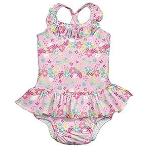 アイプレイ I play 水着 ワンピース フリル ラッシュガード ベビースイム オムツ機能付 水遊びパンツ 女の子 XL:24ヶ月/11.5-13.5kg Light Pink Dragonfly Floral
