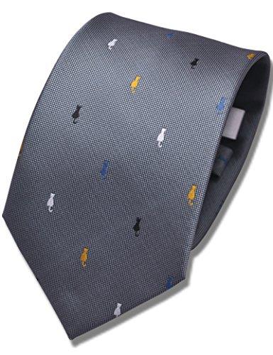 ネコタイ nekotie 猫柄 ジャガード織り4色ねこ柄ネクタイ 大剣幅8cm 5カラー NE7 (グレー)