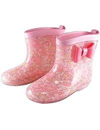 子供用 レインブーツ ピンクの花柄 リボン キッズ 女の子 雨靴 長靴