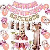1歳誕生日装飾 女の子 ローズゴールド ベビーシャワー 100日 バナー 華やかパーティー タッセルガーランド 紙吹雪入れバルーン ピンク瑪瑙風船 28個