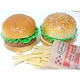 【Honesty Mouth】 ハンバーガー 食品サンプル 2個セット 本物 そっくり 模型 ディスプレイ 撮影 小道具などに (02:バーガー+ポテト)