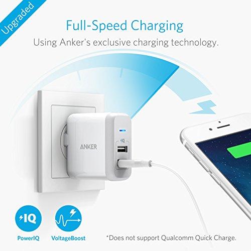 『Anker PowerPort 2 (24W 2ポート USB急速充電器 折畳式プラグ搭載) iPhone 6s / 6 / 6 Plus、 iPad Air 2 / mini 3、 Galaxy S6 / S6 Edge/Edge+、 Note 5 など対応 (ホワイト) A2141123』の2枚目の画像