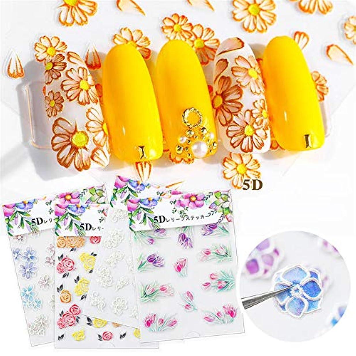 微生物黄ばむパンダ1枚 エンボスの花ネイルシール 3D効果ネイルステッカー 貼るだけでいいネイルパーツ ネイルアート (8)