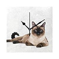 TRKGNB 掛け時計 かわいい動物 猫 シャム 置き時計 ウォールクロック 連続秒針 静音 四角 正方形 立体 アクリル おしゃれ 見やすい 軽量 壁飾り 部屋 テーブル装飾 寝室 オフィス 子供室