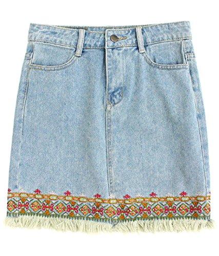 anap mimpi 刺繍フリンジデニムスカート ブルー S