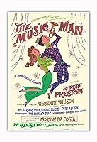 ミュージックマン - 出演:ロバート・プレストン - マジェスティックシアター、ブロードウェイ - ビンテージな劇場のポスター によって作成された デイヴィッド・クライン c.1957 - アートポスター - 33cm x 48cm