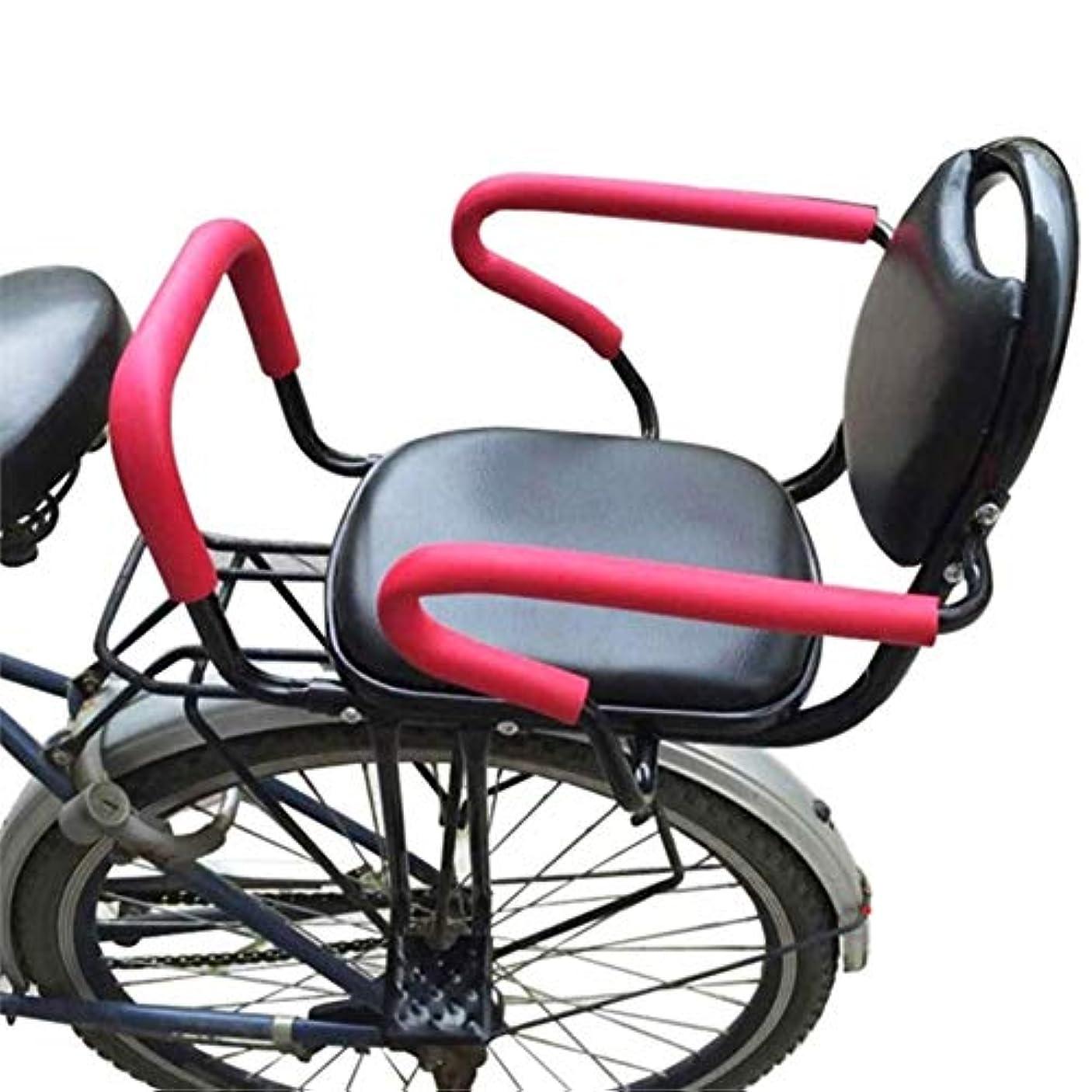 汚いラケットバスケットボールバイクリアシートキッズクッションフットレストセットチャイルドキャリアバイクバックシートチャイルドアームレストシートクッション 自転車用アクセサリー (Color : Black)