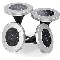 【改良版】ソーラーライト 10LED ガーデンライト Tomshine 4個セット 自動点灯消灯 埋め込み式 IP65 防水 ガーデン 庭 玄関 芝生 駐車場 屋外照明 (電球色)