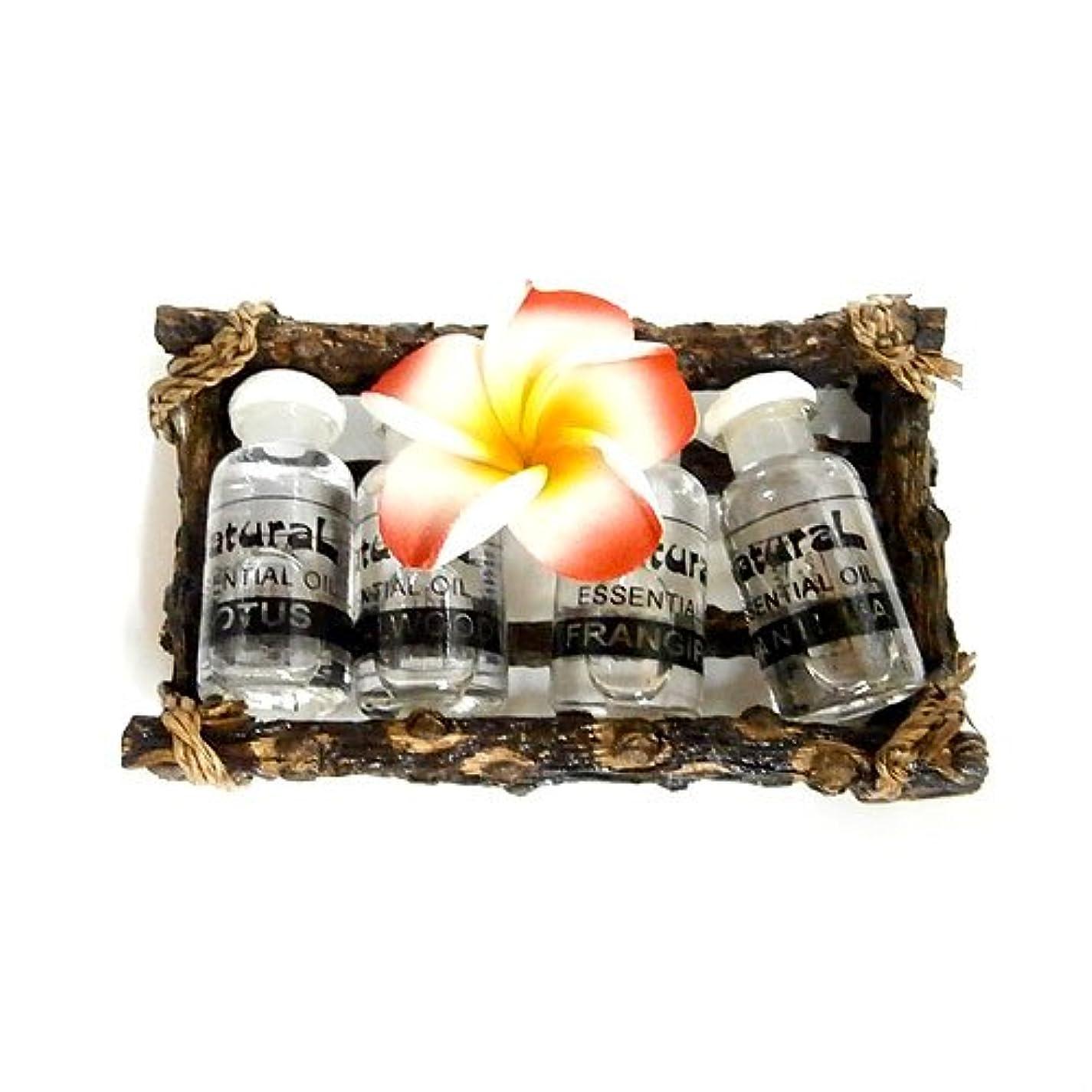応じるお金ゴム石のアロマオイル4種セット 木枠入り アジアン雑貨