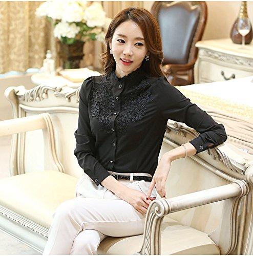(ロンショップ)R.O.N shop レディース フリル ブラウス 長袖 上品 エレガント 詰襟 白 黒 (ブラック,XL)