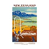 Travel Queenstown New Zealand Coast Town Ocean Picture Wall Art Print 旅行クイーンニュージーランド海岸海洋画像壁
