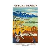 Travel Queenstown New Zealand Coast Town Ocean Picture Wall Art Print 旅行クイーンニュージーランド海岸海洋画像壁