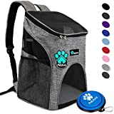 PetAmi Premium Pet Carrier Backpack for Small Cats and Dogs   Ventilated Design, Safety Strap, Buckle Support   Designed for Travel, Hiking & Outdoor Use (Heather Gray)