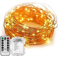 DOUBEE OLIVIAK イルミネーションライト ストリングライト LED 10m 100電球数 電池式 リモコン付 8パターン 点滅