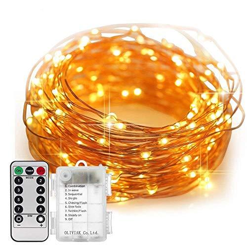 RoomClip商品情報 - DOUBEE OLIVIAK イルミネーションライト ストリングライト LED 10m 100電球数 電池式 リモコン付 8パターン 点滅