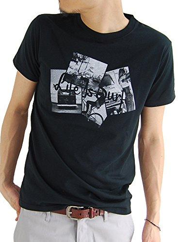 (アーケード) ARCADE Tシャツ メンズ サーフ フォト プリント クルーネック 半袖Tシャツ サーファー M C柄ブラック
