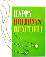 Macy 's Women 's 182のセットゴールド調ペンダントネックレスwith Holiday Greeting Card ' Happy Holidays美しい'