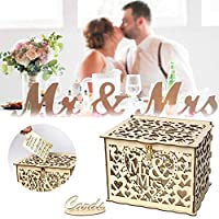 Mr&Mrs結婚祝い結婚祝いカードボックスロック付き木のお金箱美しい結婚式の装飾品用バースデーパート(木製)