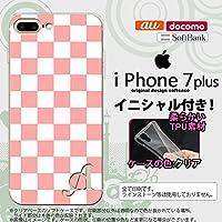 iPhone7plus スマホケース ケース アイフォン7plus ソフトケース イニシャル スクエア 白×ピンク nk-i7plus-tp765ini X