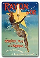 22cm x 30cmヴィンテージハワイアンティンサイン - ゴールデングロー - 照明の最後の言葉 - ヌード ウイングド 女神 - ビンテージな広告ポスター によって作成された ジーン・ド・ペリオログ c.1895