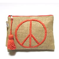 【Swaraj Bag】ジュートPEACE刺繍クラッチ-ORANGE