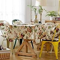 [テンカ]テーブルクロス 135×180cm 北欧 正方形 長方形 綿麻 花柄 テーブルカバー 食卓カバー 汚れ防止 耐熱 滑り止め 華やか 自宅 お店 雰囲気 贈り物 多用途