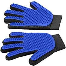PetiJoy [Upgrade Version] Pet Grooming Glove - Gentle Deshedding Brush Glove - Efficient Pet Hair Remover Mitt - Massage Tool with Enhanced Five Finger Design - Perfect for Dogs & Cats with Long & Short Fur (Pack of 2(both hands))