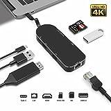 SUPVIN USB Cハブ Type Cアダプタ 7in1 LANポート(1000Mbit/s) 4K HDMI出力 PD充電機能(type c) 二枚USB3.0ポート Micro SD/SDカードリーダー New Macbook 2017/Macbook pro 2017/Macbook pro 2017/Huawei Matebookなど適用