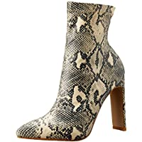 BILLINI Women's Eleni High Heel Boot, Cream/Grey Snake, 6 AU