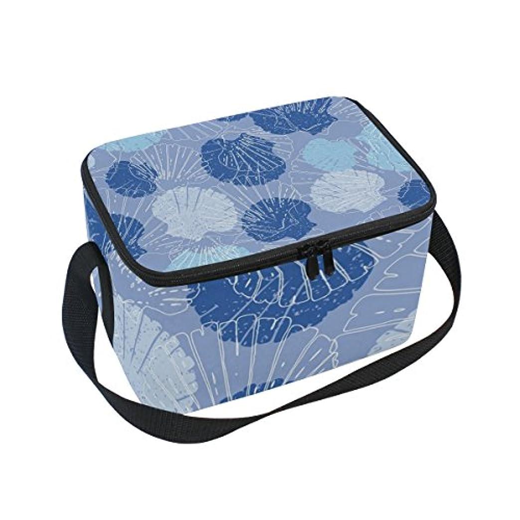 飛ぶつかの間クーラーバッグ クーラーボックス ソフトクーラ 冷蔵ボックス キャンプ用品  貝殻柄 ブルー 保冷保温 大容量 肩掛け お花見 アウトドア