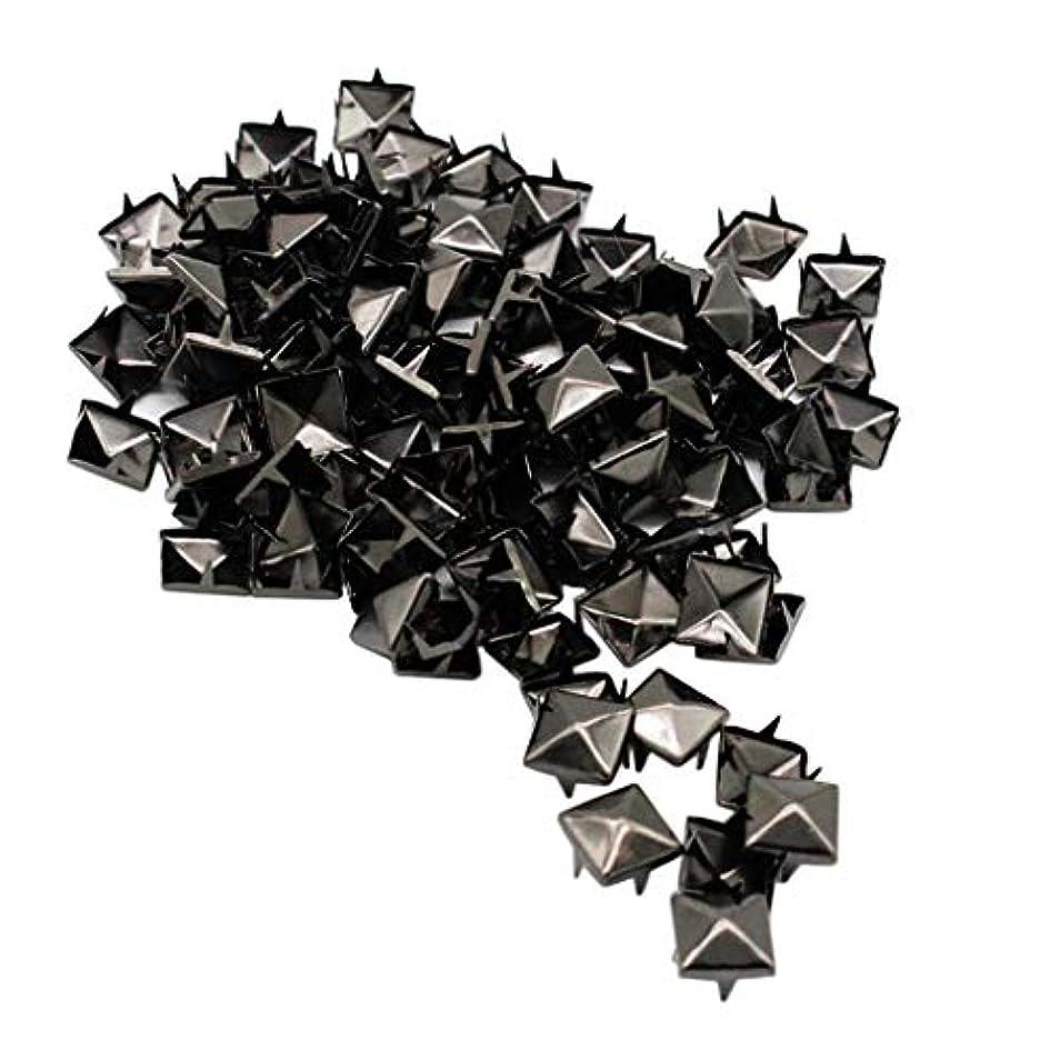 タンザニア障害固有のリベット スタッドリベット ピラミッドスクエア形状 レザークラフト クラフト ブラック