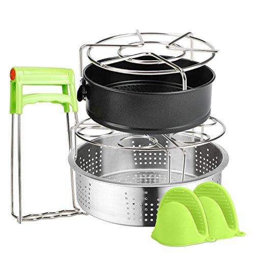 蒸し器セット 調理器具 ステンレス 蒸しスタンド 蒸し皿 スチームラック ケーキの型 底取れ デコレーション ケーキ 蒸し物用トング 鍋つかみ ミトン 卵蒸しラック キッチン用品