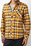 (264001)HALHAM メンズ シャツ ネル チェック ビエラ メンズ カジュアル 起毛 長袖 リサイクル コットン (M, イエロー)