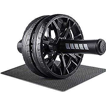 Motomo スリムトレーナー 超静音 腹筋ローラー ダイエット マッサージ フィットネスローラー 耐久 ストレッチ ボディビル サポートマット付き 筋トレーニング ダイエット膝を保護するマット付き