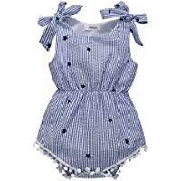 Weixinbuy Baby Girls' Bowknot Tassel Stripe Romper Clothes Bodysuit Outfits