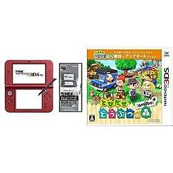【Amazon.co.jp限定】 【液晶保護フィルムEX付き (気泡軽減タイプ) (任天堂ライセンス商品) 】New ニンテンドー3DS LL メタリックレッド + とびだせ どうぶつの森 amiibo+ (「『とびだせ どうぶつの森 amiibo+』 amiiboカード」1枚 同梱) - 3DS セット