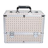 [プロ仕様]Hapilife メイクボックス トレイ付き プロ用 大容量 コスメボックス 化粧品収納 大型ボックス 菱形柄 ベージュ