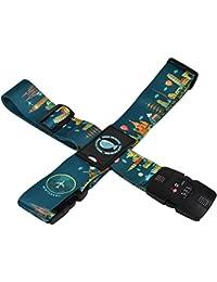 クロース(Kroeus)スーツケースベルト TSAロック 十字型 トランクベルト ワンタッチ 旅行 出張 サイズ調整可 ネームタグ付 盗難防止 カラフル 5色