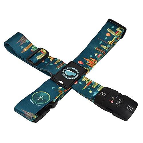 クロース(Kroeus)スーツケースベルト TSAロック 3桁ダイヤル式 十字型 目立ちやすい トランクベルト ワンタッチ 旅行 出張 サイズ調整可 ネームタグ付 盗難防止 カラフル グリーン