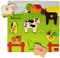 Goula Holzpuzzle Bauernhoftiere mit Ton 7-teilig
