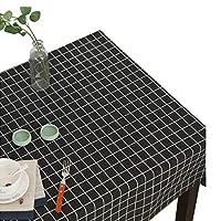 Ever Fairy 北欧 テーブ ルクロス テーブルカバー 耐熱 防油 吸水 厚手 木目のコットンリネンの素朴なスタイル 格子縞のテーブルクロス (2, 140 * 200cm)