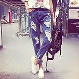 ボトムス パンツ ズボン ジーンズ デニム カラーデニム ダメージ加工 ロングパンツ 10分丈 XL