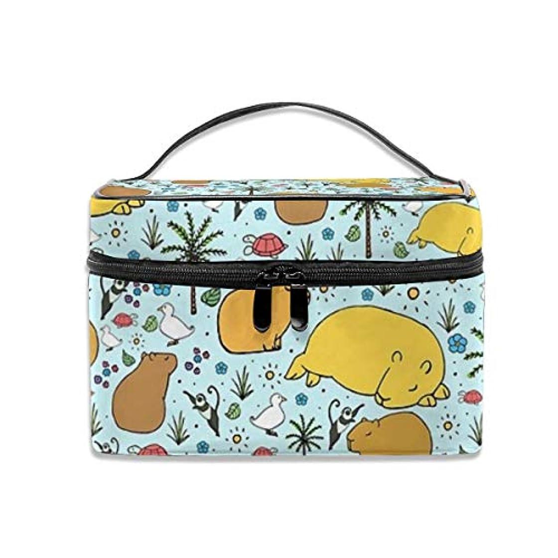 労苦移動する広告するCapybaras化粧バッグポータブル旅行化粧品バッグオーガナイザージッパートイレタリーバッグ用女性
