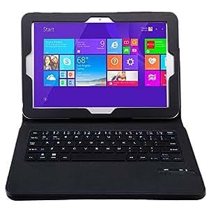 【KuGi】東芝 dynabook Tab S90 / S80 / S50/23M/26M/38M 10.1インチ 通用 脱着式Bluetooth キーボード ケース一体型 良質PUレザーケース付き(ブラック)